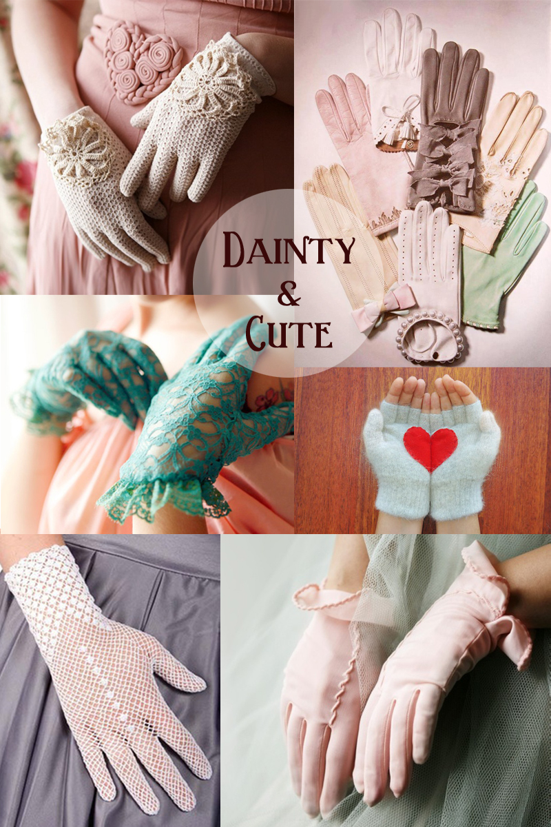 lacy vintage gloves,   assortment of cute gloves ,  lacy teal gloves ,  mint gloves with red heart ,  white lacy gloves ,  soft pink gloves