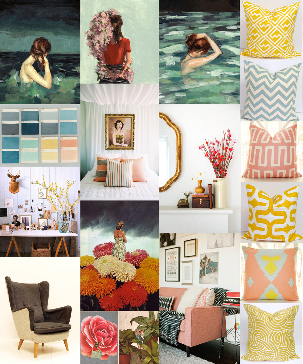 paintings here, pillows here and here, color cards, canopy bed, mantle, desk, sofa, collages via