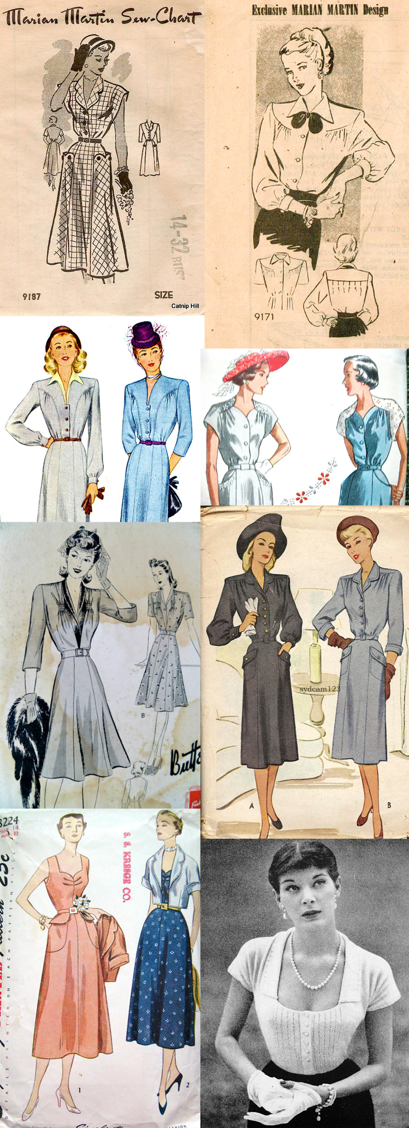 1.  Marian Martin 9187  / 2.  Marian Martin 9171  / 3.  Simplicity 2737  / 4.  McCall 6172  / 5.  Butterick 9417  / 6.  McCall 6999  / 7.  Simplicity 3224  / 8.  Vintage 40s knitting pattern (PDF)