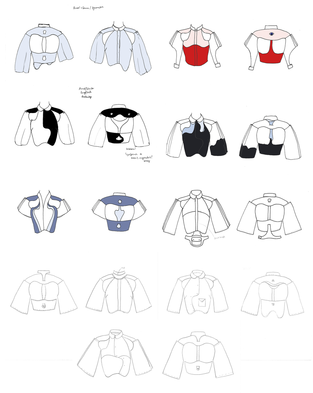 These are the variations of our blouse we had to draw (we did our first technical drawings this semester)