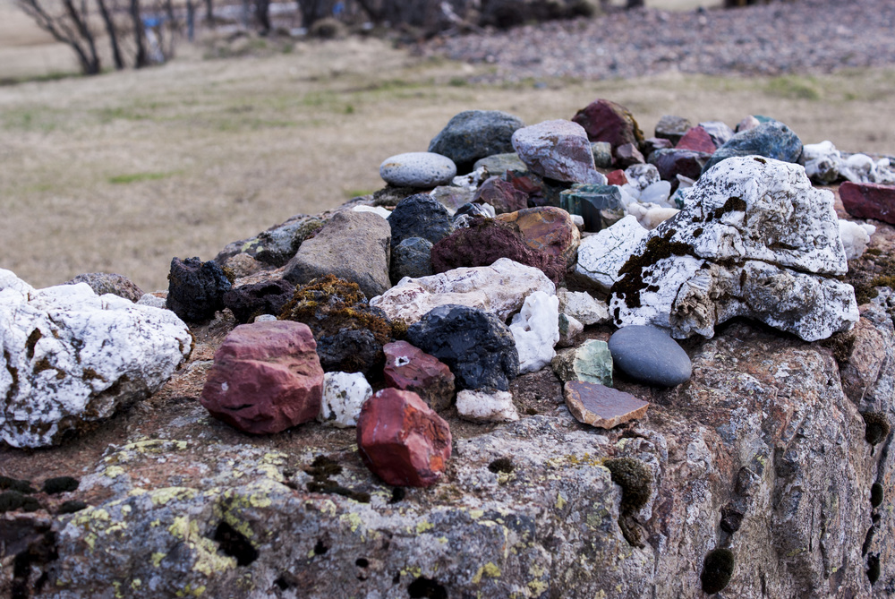 Someones stone collection at a farm in Höfn