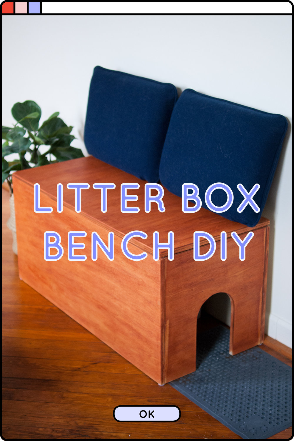 Make a DIY litter box cover bench for your cat and yourself! Covers up your kitty's litter box and supplies, while adding additional functionality by adding seating to your home - #DIY #kitty #catDIY #litterbox #litterboxDIY #DIYbench #litterboxbench #petdiy