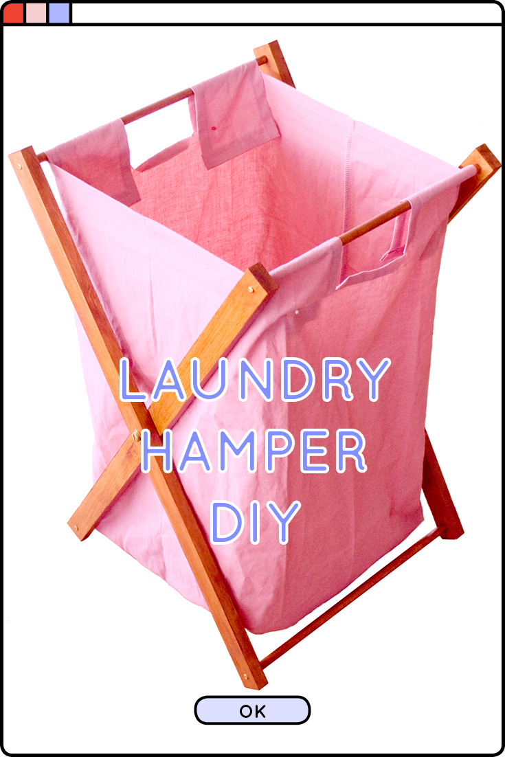 DIY foldable laundry hamper using a few pieces of wood and an old pillow case!