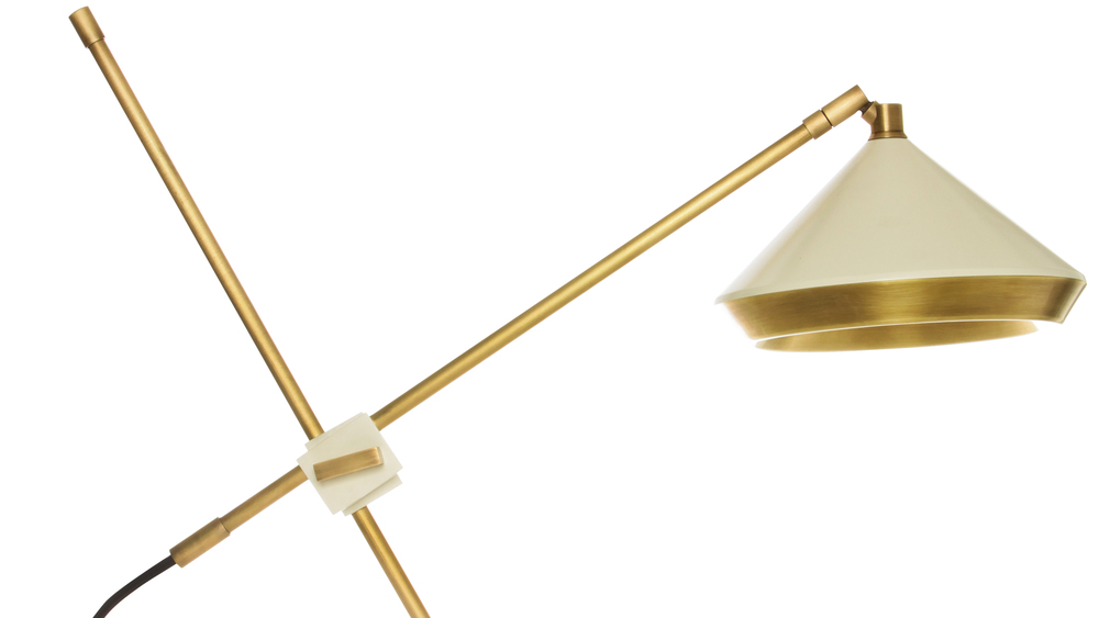 Bert Frank Shear Table Lamp in Brass & White
