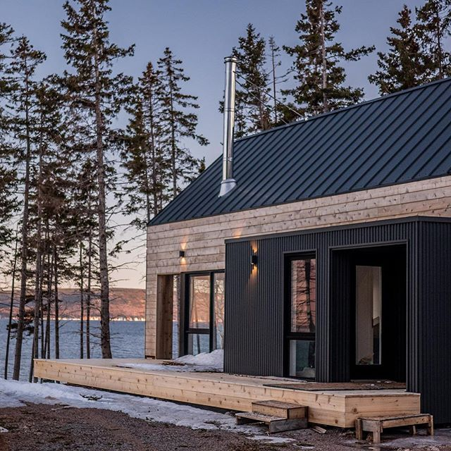Great shot of the Master House from our Cape Breton project on the Cabot Trail by our friends @skylinestudiodigital.  The team @lloyollbuilt are busy finishing up the barn onsite and the sauna in the factory.  We will be sharing more great content from this project in the coming weeks.  #prefab #modernprefab #capebreton #modernarchitecture #modularhome #nicholasfudgearchitects #lloyollbuilt