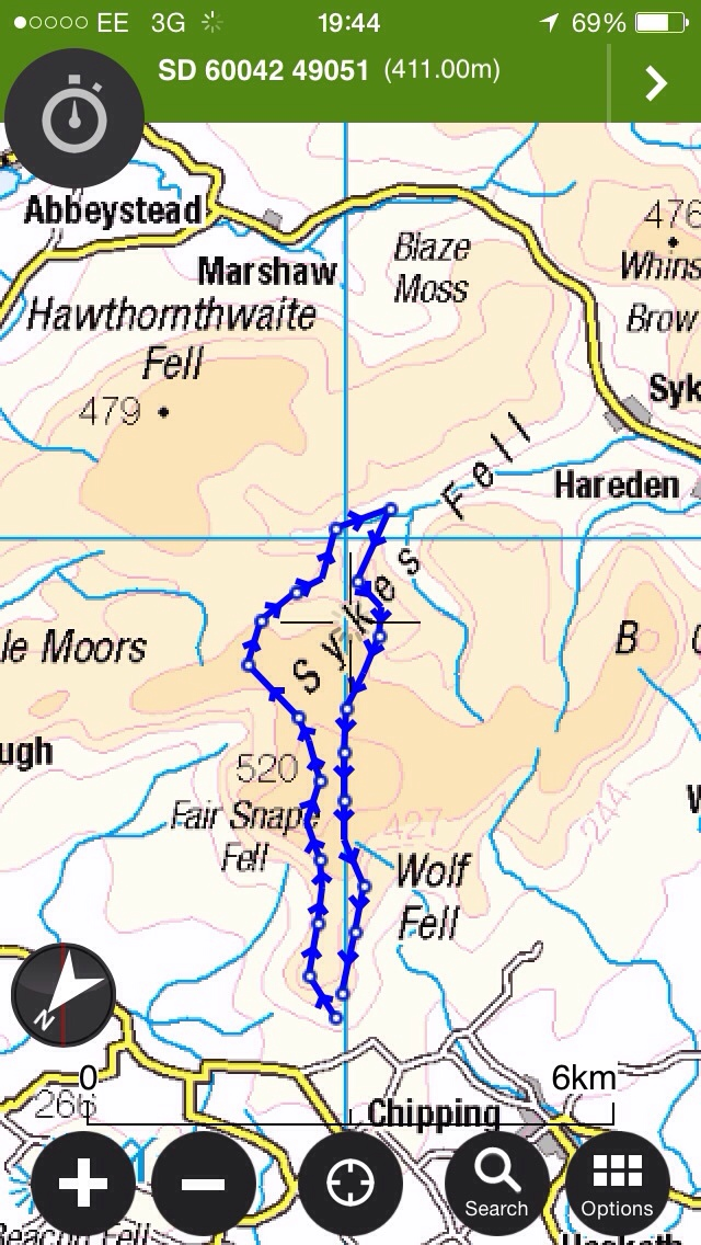 Planned route to and from our camp target (Castle Langden)