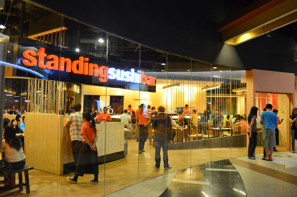 Standing Sushi Bar in Jakarta, Indonesia. Part of the La Piazza complex in Kelapa Gading.