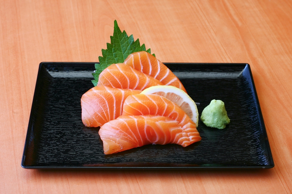 Fresh, healthy, hand-sliced salmon sashimi.  We get the whole fish on-site and then slice it down for you to enjoy.