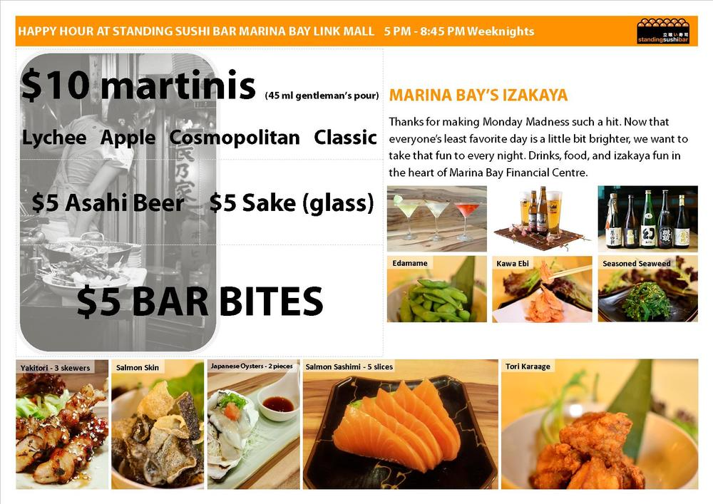 Standing Sushi Bar Marina Bay Financial Centre happy hour