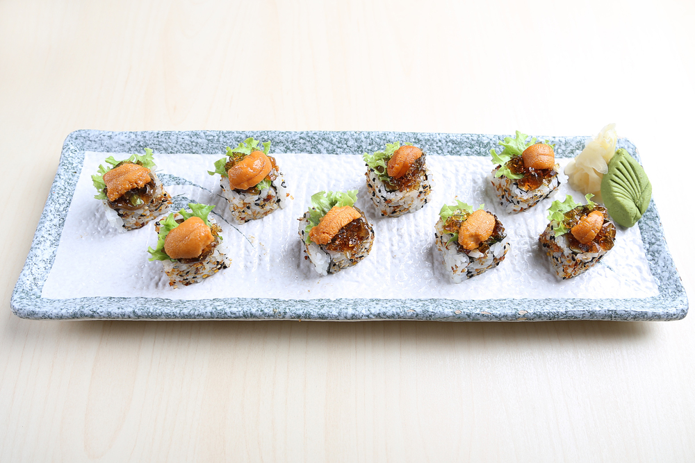 Thousand Year Maki. A glorious combination of century egg, uni, and more. Available at 8 Queen Street's Standing Sushi Bar.