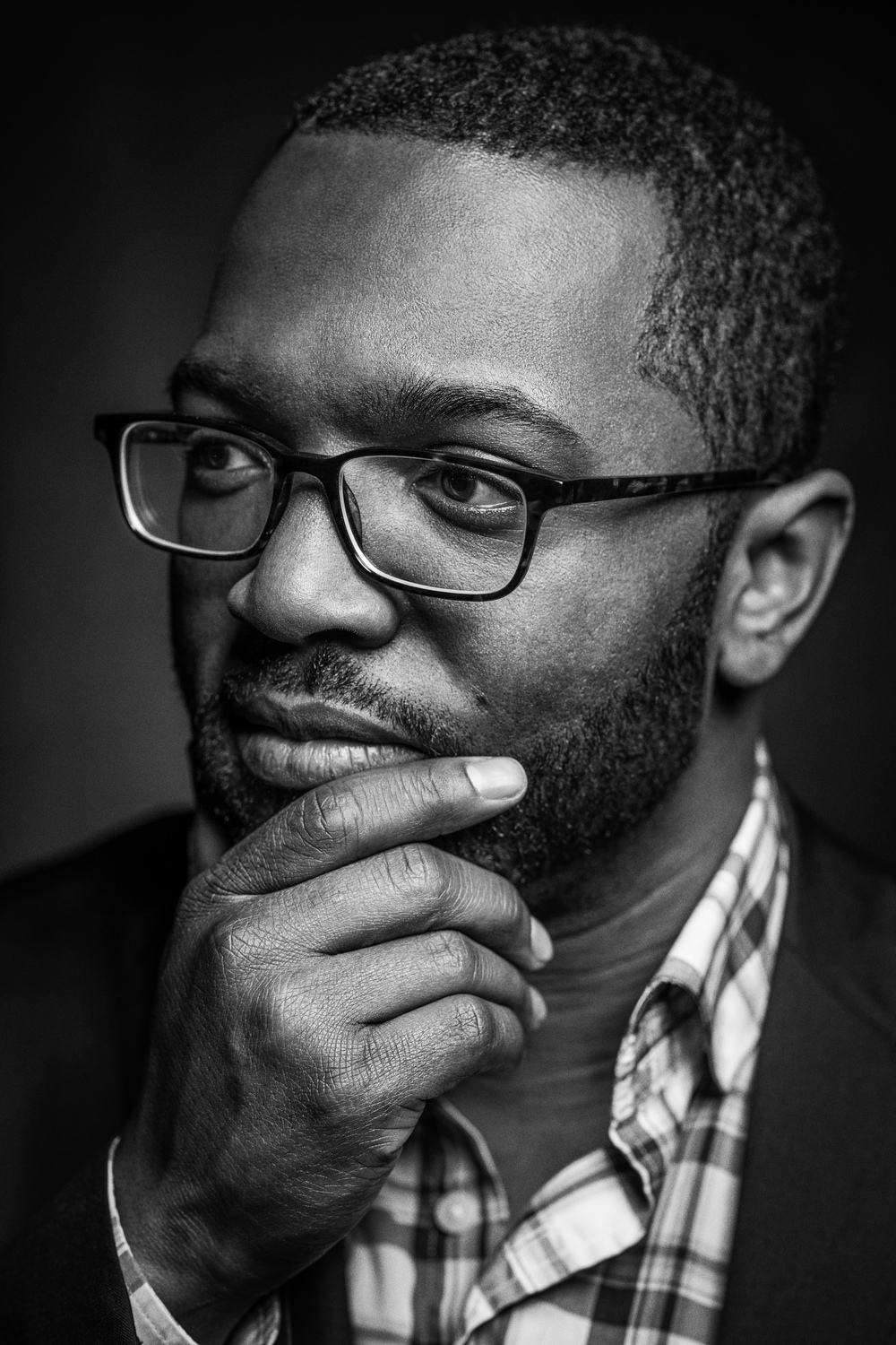 Baratunde Lookin All Thoughtful (B&W) high resolution