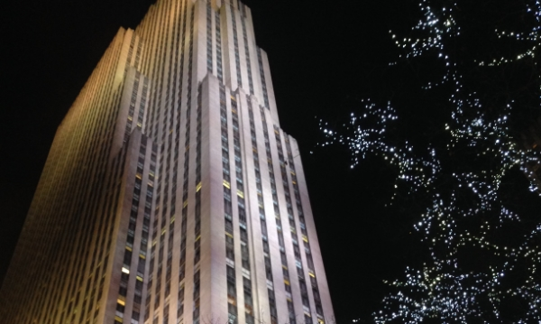 A lovely view of 30 Rock from the streets. Lots of cameras up in there!