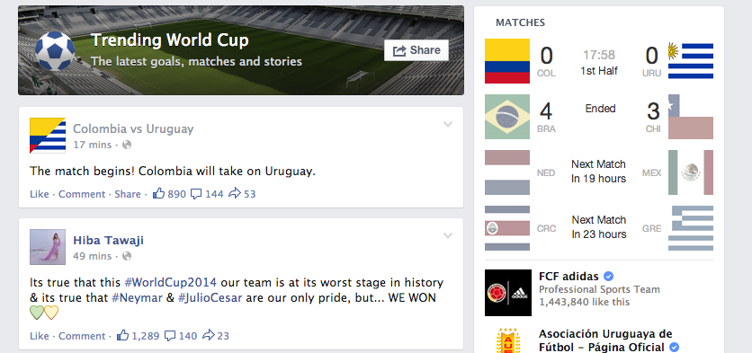 Facebook's inferior curation of World Cup-related Facebook content leaves much to be desired.
