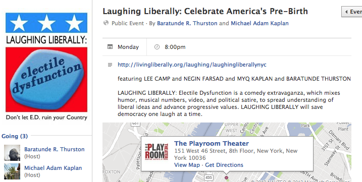 "This Monday, I'm part of a stellar lineup of political comics (Lee Camp, Negin Farsad, Myq Kaplan) on an NYC show called Laughing Liberally.  Tickets are $20  and completely worth it. However, I'm giving away two comp tickets for my How To Be Black fam.   How can you earn these free tickets?    Submit a photo of my book, How To Be Black, in the most American setting you can create .   This might mean you wrap the book in an American flag or photoshop the book cover dropping bombs on brown people or take the hardcover and deep fry it. Use your imagination!   You  submit your photo  to this blog (add text ""nyc giveaway"" to the caption), post your image to  the book's Facebook page , or if you're stuck in the 20th century, email baratunde+nycgiveaway@gmail.com (yes, that is a plus sign).    Deadline  for submissions: NOON eastern time Monday 2 July 2012   I will select two winners, and those winners can bring one additional person, aka a date, if they so choose. See, I also support love (or kidnapping camouflaged as love).   Cool, right?"
