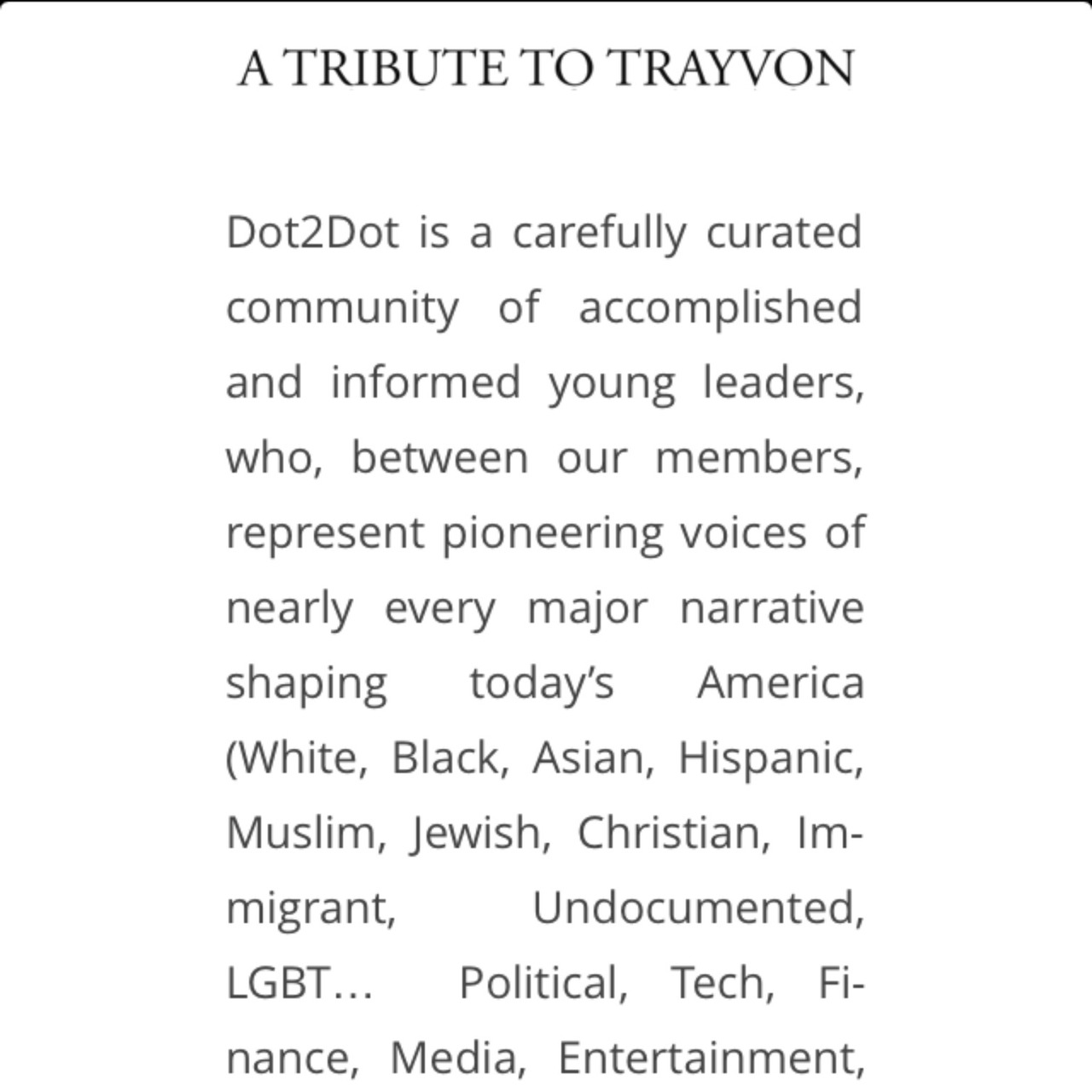 Visit  http://dot2dot.us  a tribute to #TrayvonMartin by an amazing group of people with David, Nia, Nicole, Ramy, Jenna, Jeremy, Amanda, Rachel, Mike, May, and Michael – View on  Path .