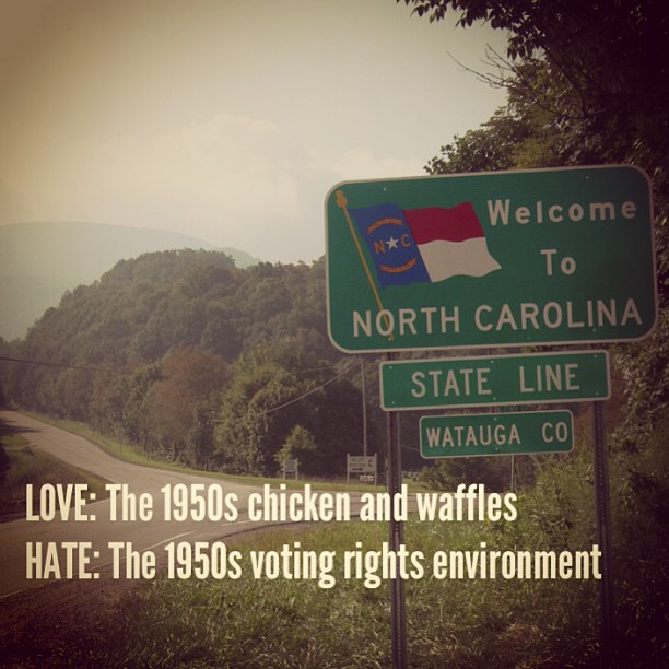 #NorthCarolina: Love the 1950s chicken and waffles. Hate the 1950s #votingrights environment.