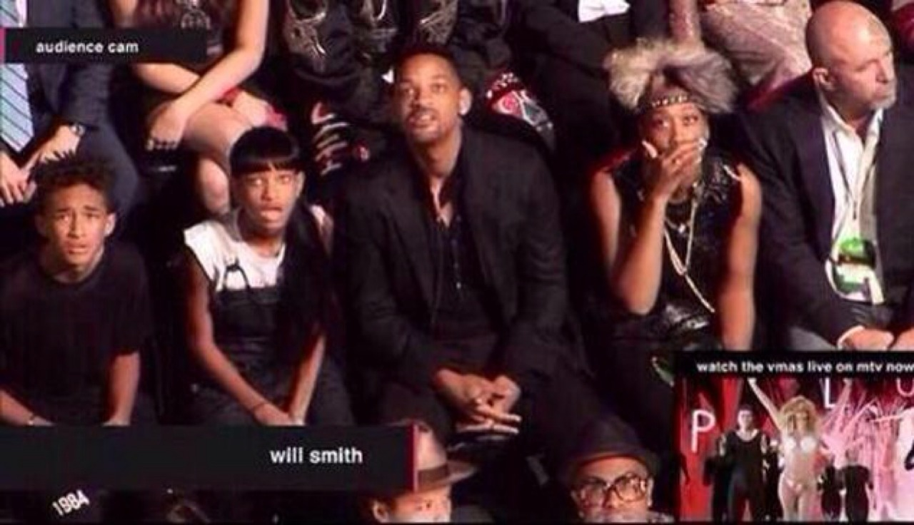Best crowd reaction shot in history? The Smith family reacts to whatever Miley Cyrus was doing at the #VMAs – View on Path.
