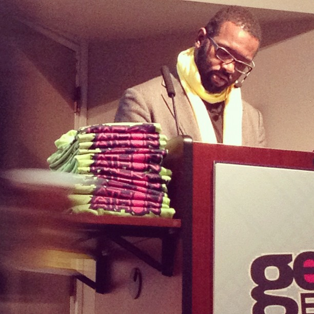 jimmyether :     Baratunde Thurston of @TheOnion preparing for #HorseMasturbation to #howtobeblack keynote. (Taken with  instagram )