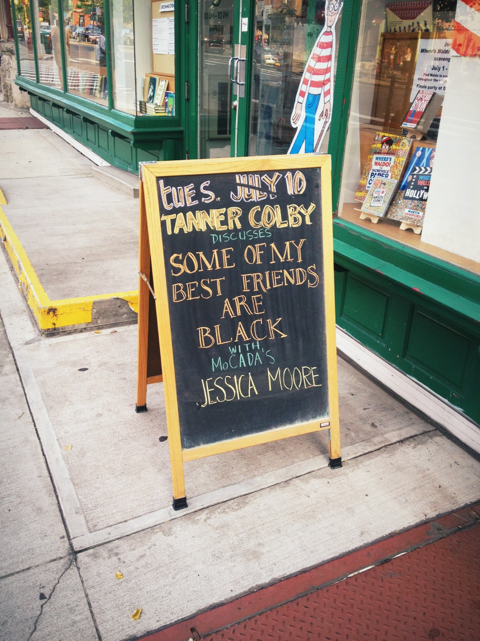Here for @TannerColby book event: Some Of My Best Friends Are Black http://blackte.am/blackfriends at Greenlight Bookstore