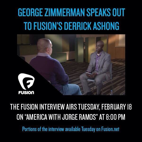 Heads up: my friend Derrick Ashong works for Fusion (new tv network focused on US Latino market). He interviewed George Zimmerman. First black tv journo to do so. Video posts to http://fusion.net at midnight ET tonight. I'm not a big fan of giving wack people stage time but Derrick is a smart and good person and I think this will be worth seeing