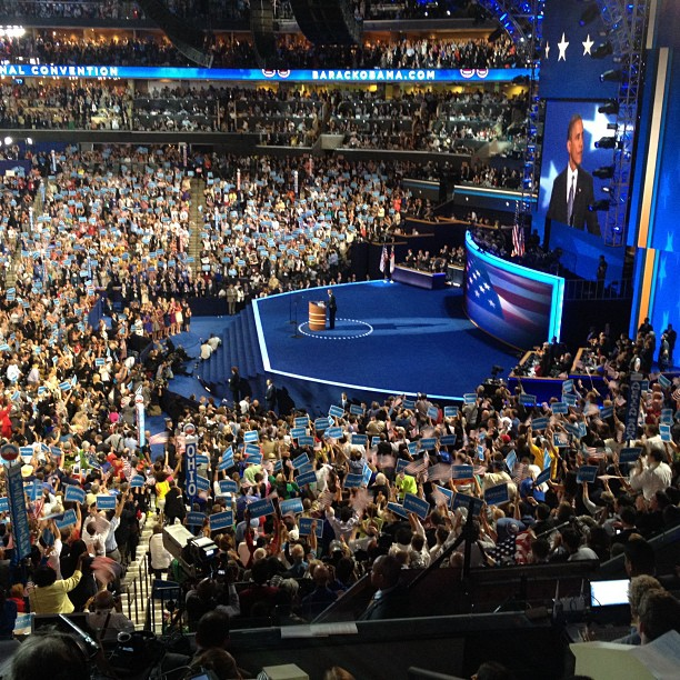My view of #POTUS at #dnc2012 (Taken with Instagram)