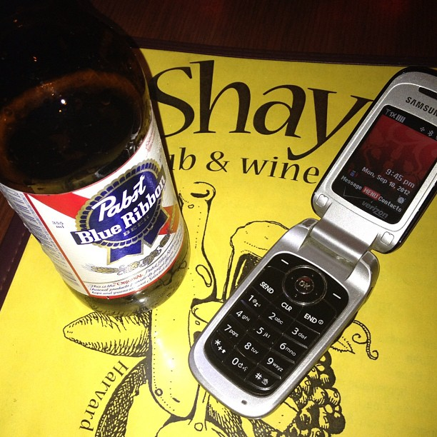 A night of miracles. #PBR in a bottle & a #samsung #flipphone (Taken with Instagram at Shay's Pub & Wine Bar)