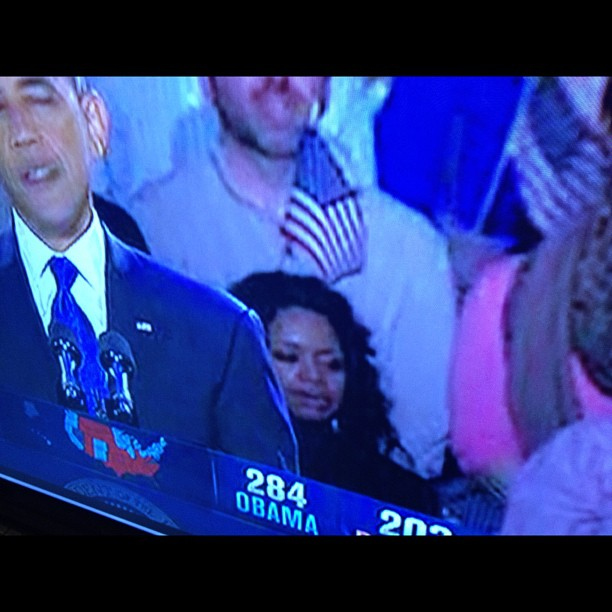 And so a meme is born. Hello #flaginhairlady at #obama rally. #election2012