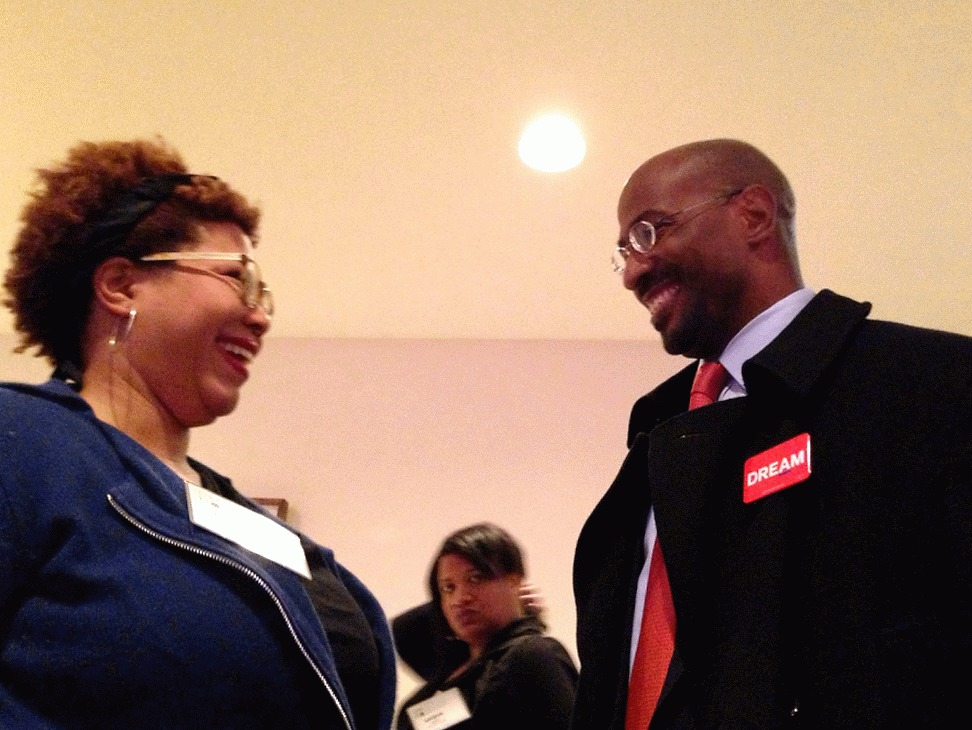 Cheryl Contee and Van Jones share a moment of gestures at the Ford Foundation