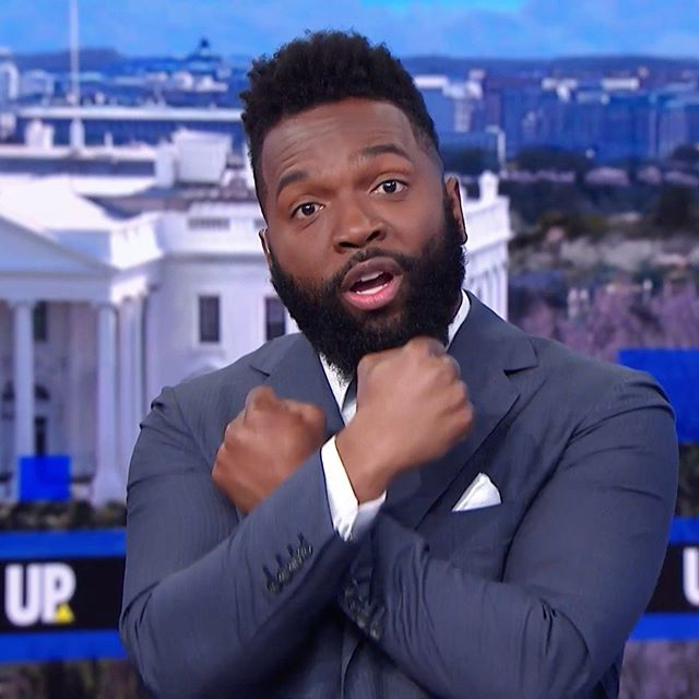This is one of the most fun things I ever did on television. The last Saturday in December, I guest hosted two hours of live MSNBC television while David Gura was out on parental leave. The screen backdrop was my birthplace of Washington, D.C., and with a nation watching, I did what any self-respecting black person in a similar situation would do: Wakanda Forever!⠀⠀⠀⠀⠀⠀⠀⠀⠀ ⠀⠀⠀⠀⠀⠀⠀⠀⠀ #baratunde #baratundethurston #msnbc #hosting #television #tv #wakanda #wakandaforever #blackpanther #rightoverleft