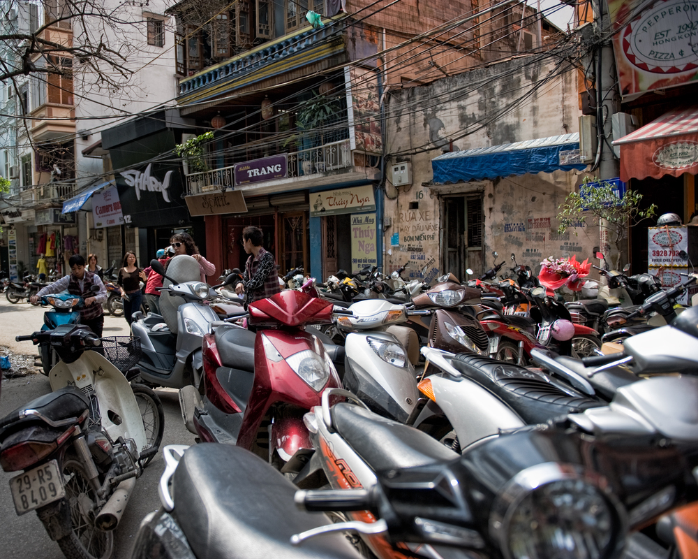 Scooters fill the old quarter of Hanoi