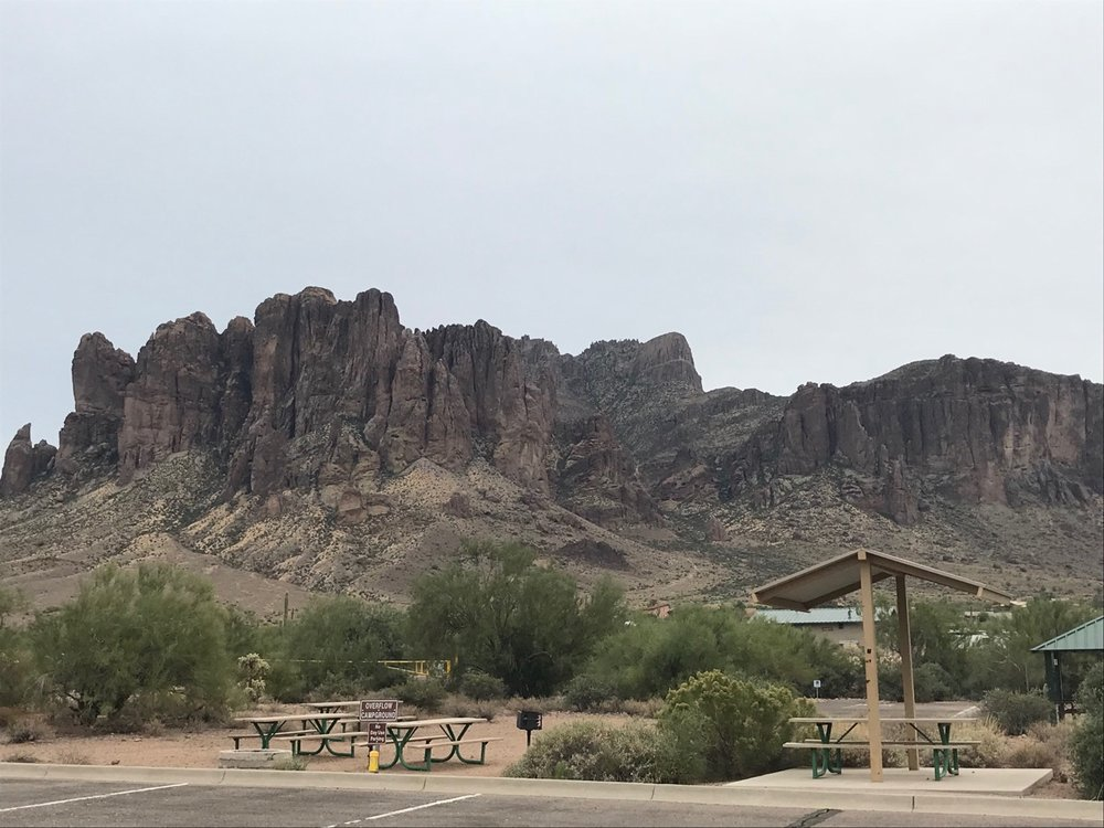 Campsite at Lost Dutchman in the Supersition Mountains