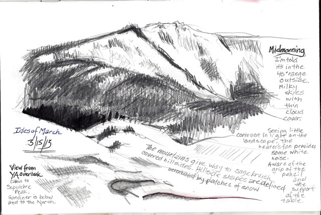 View of Sepulcher from Overlook cabin. Sketching and testing different media