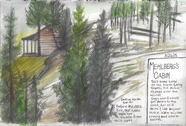 Sketch of the neighbor's cabin. Before last year's fires, you couldn't see it from this spot.