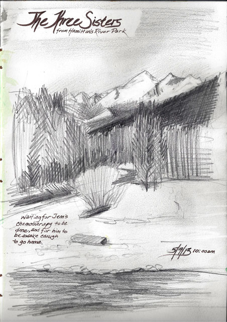 Sketch made down by the river, while waiting for Jem cat's chemotherapy session to be over.