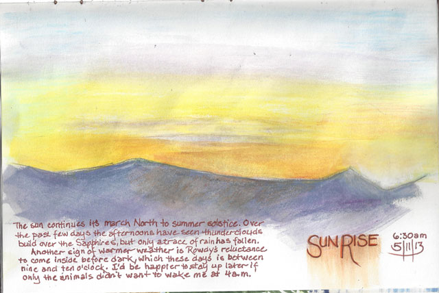 Mixed media sketch of a sunrise of the Sapphires.