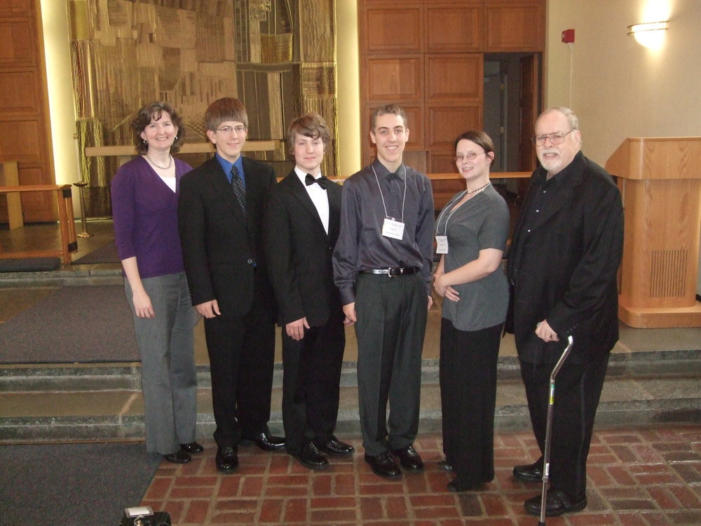 2009 Penn State Single Reed Summit - High School Competition Judges Dr. Linda Thornton and Prof. Smith Toulson, with a few of the contestants.