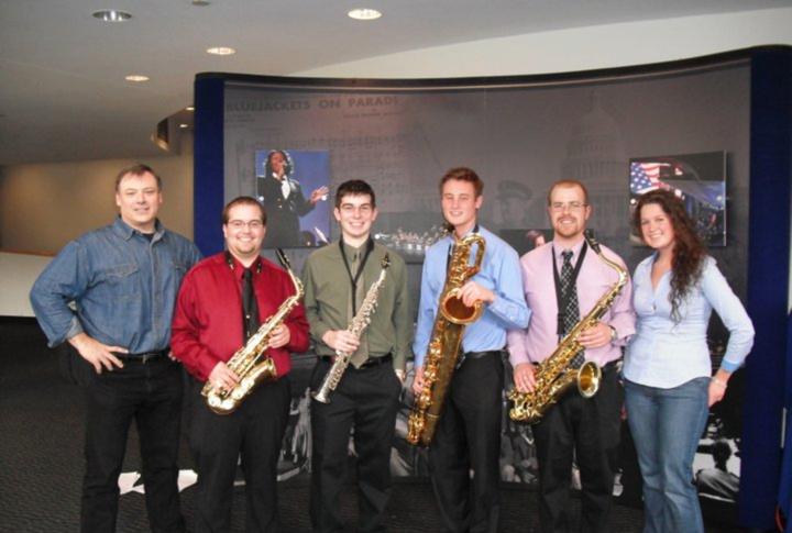 Dr. David Stambler with a few members of the Penn State saxophone studio: Adam Miller, Chris Wahlmark, Tim Sheridan, Gabe Fadale, and Abbi Conklin.