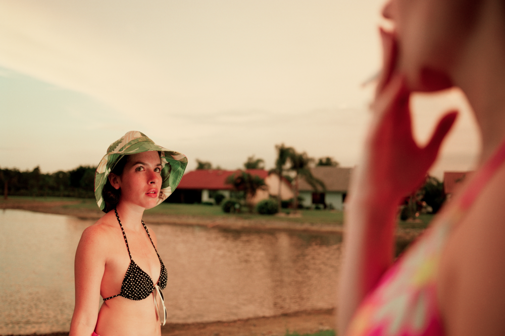 Jessica Sue Burstein as Veronika, Brooke Witherington as Lizzie on location in Fort Meyers, Florida.