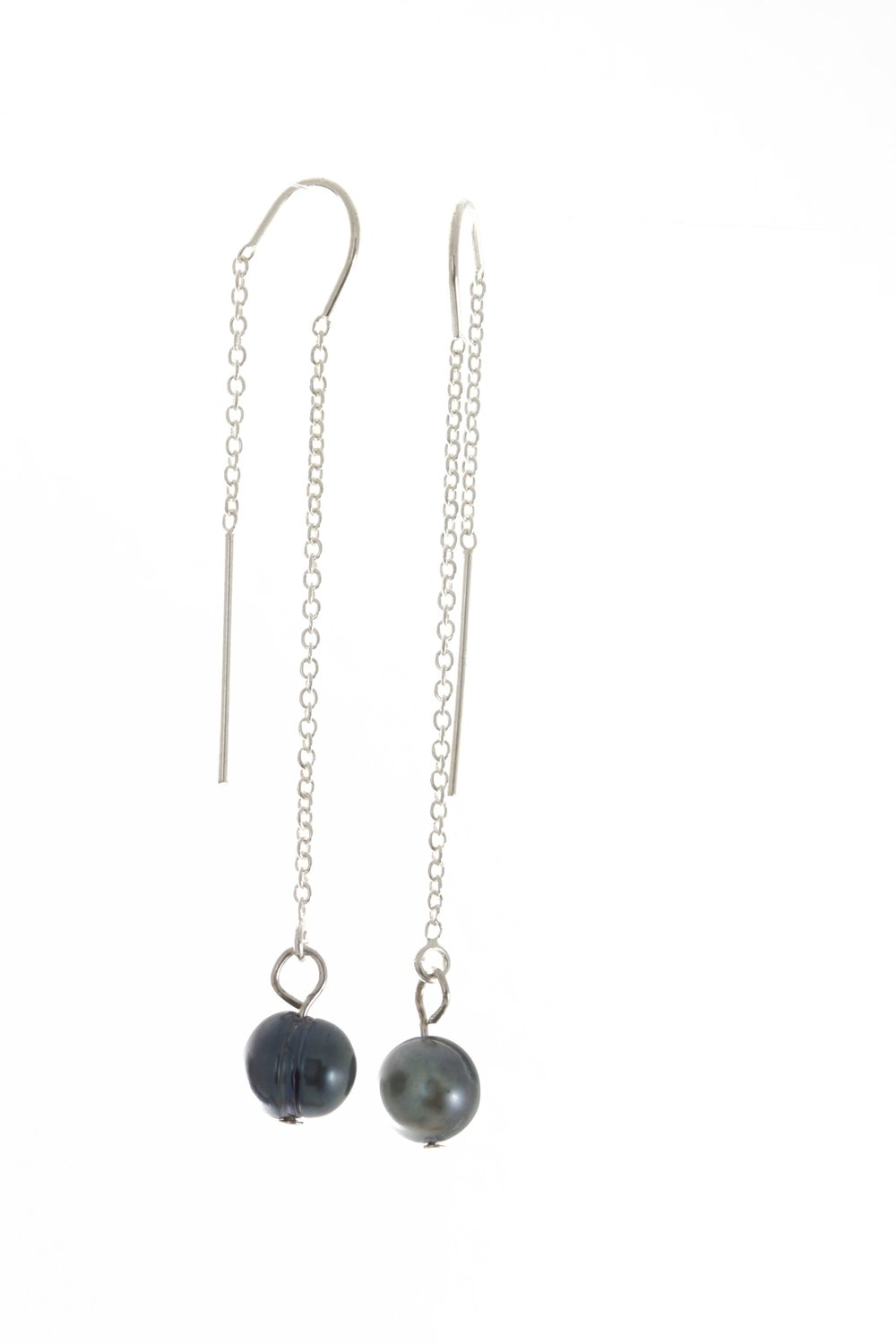 Blue baroque pearl earrings sterling silver ear wires.