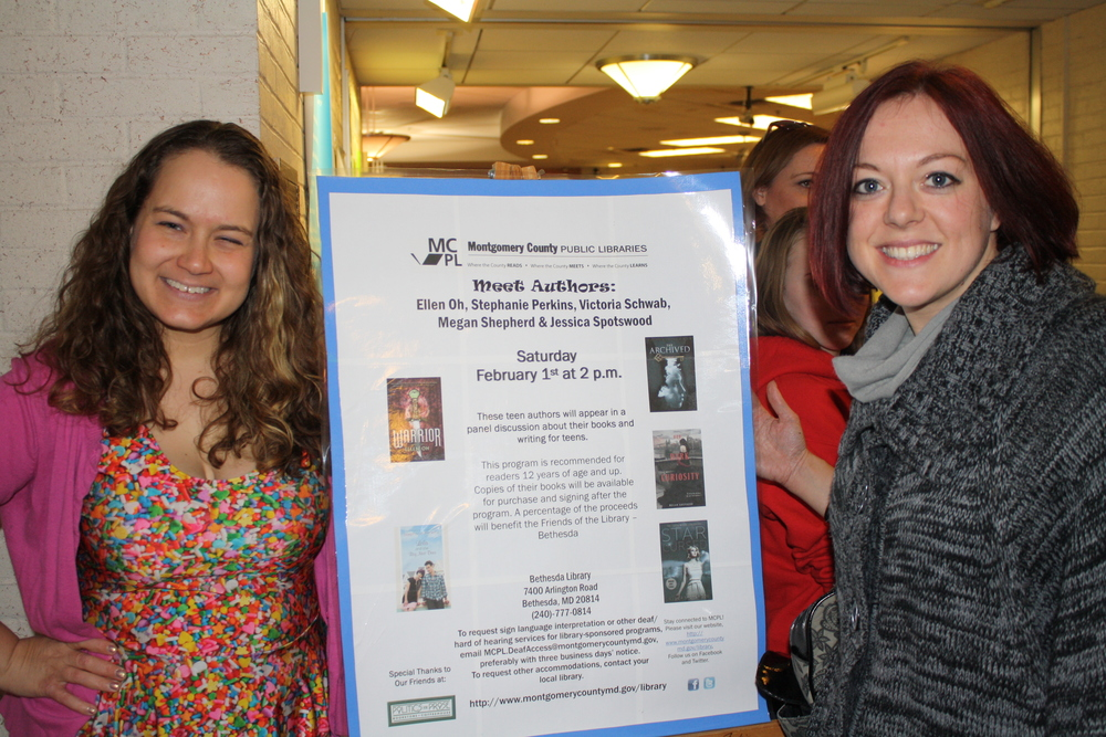 Jessica Spotswood and Victoria Schwab before our Bethesda Library event