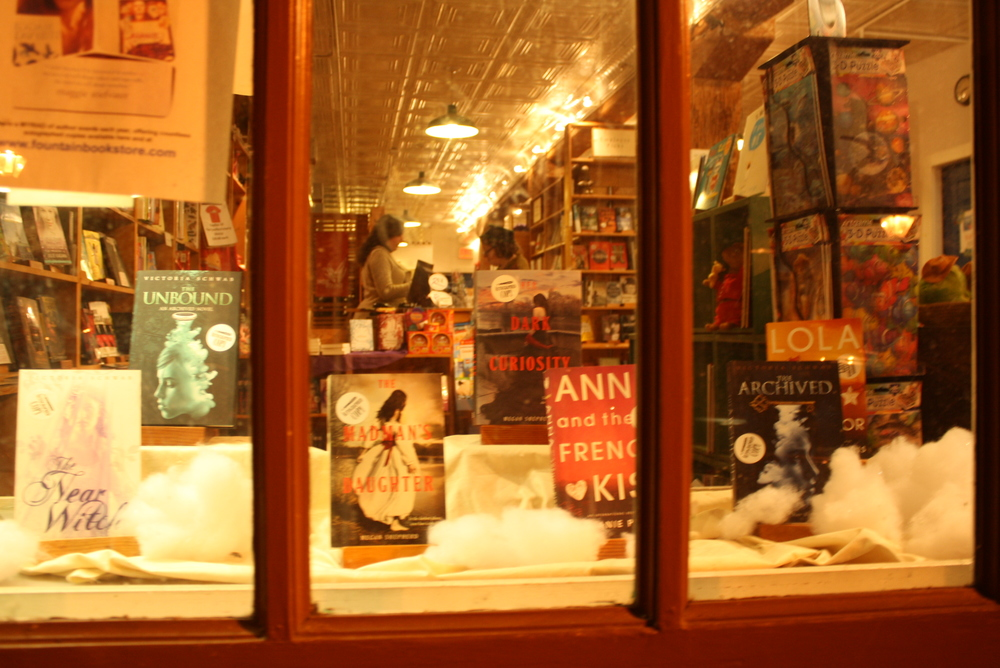 A charming window display of our books at Fountain Bookstore in Richmond, VA
