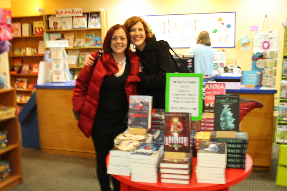 Our books on display at the great Hooray for Books in Alexandria VA, with the lovely Victoria Schwab and Stephanie Perkins