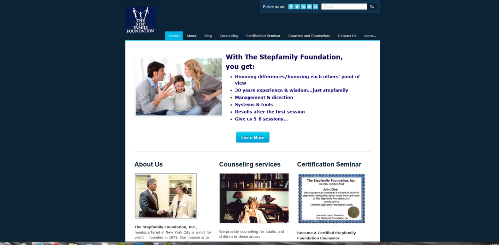 The Stepfamily Foundation's new website as of April 13, 2014