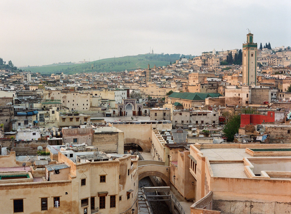 Fez Medina from Roof Deck_Dawn_Mosque and Gate_web.jpg