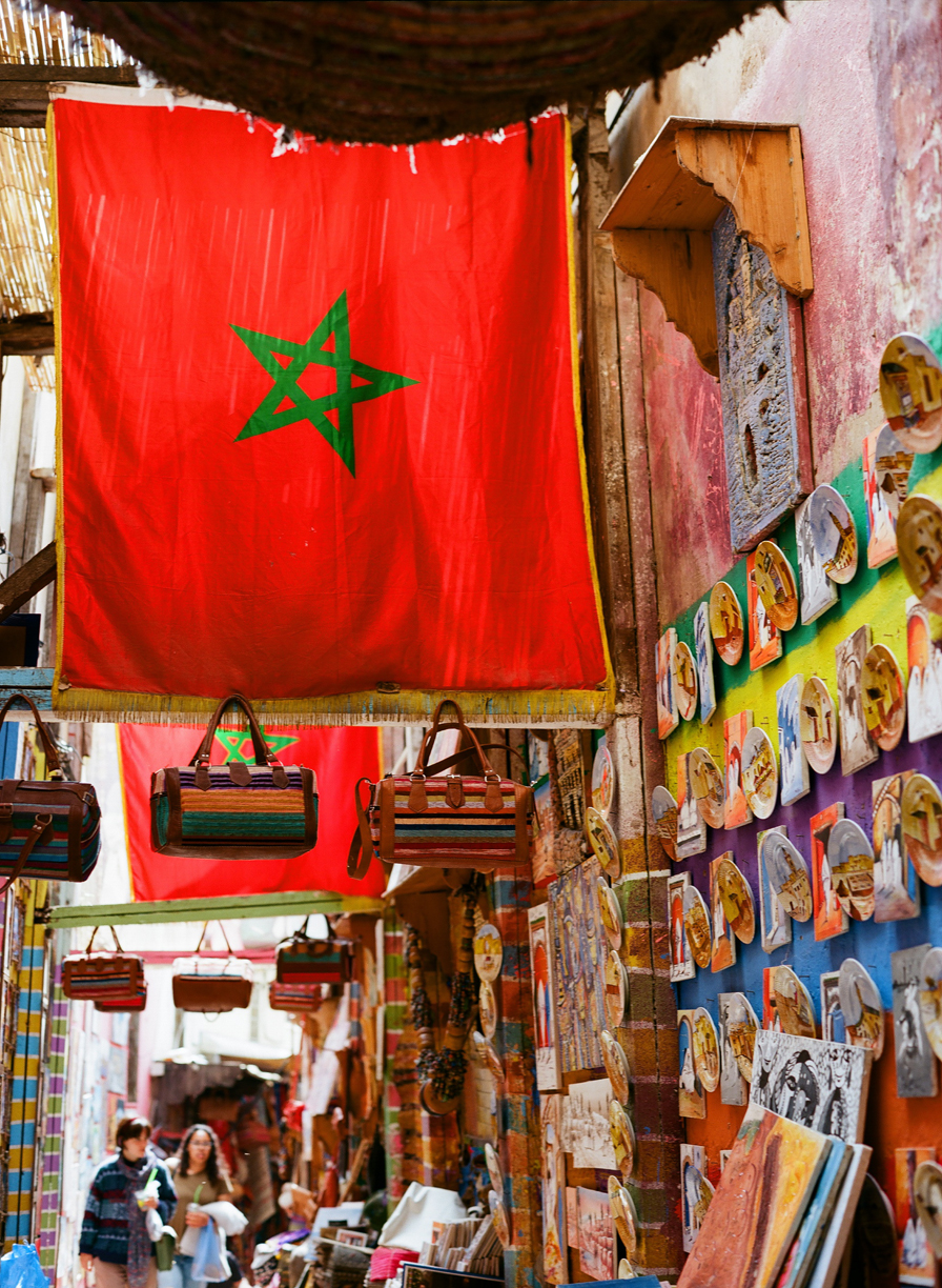 Large Morocco Flag in Medina_Painted Plates Hung on Wall_web.jpg