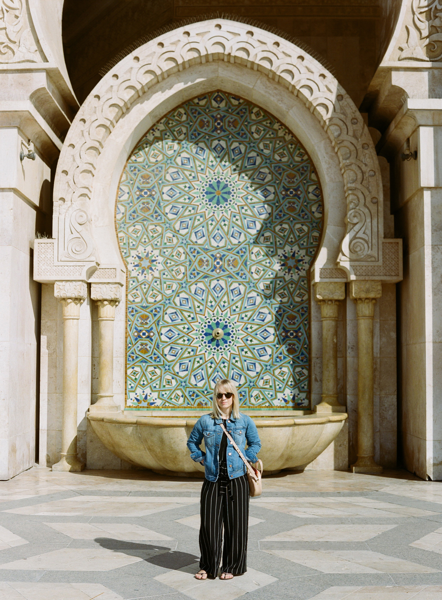 Allison in front of fountain at Hassan Mosque II_web.jpg