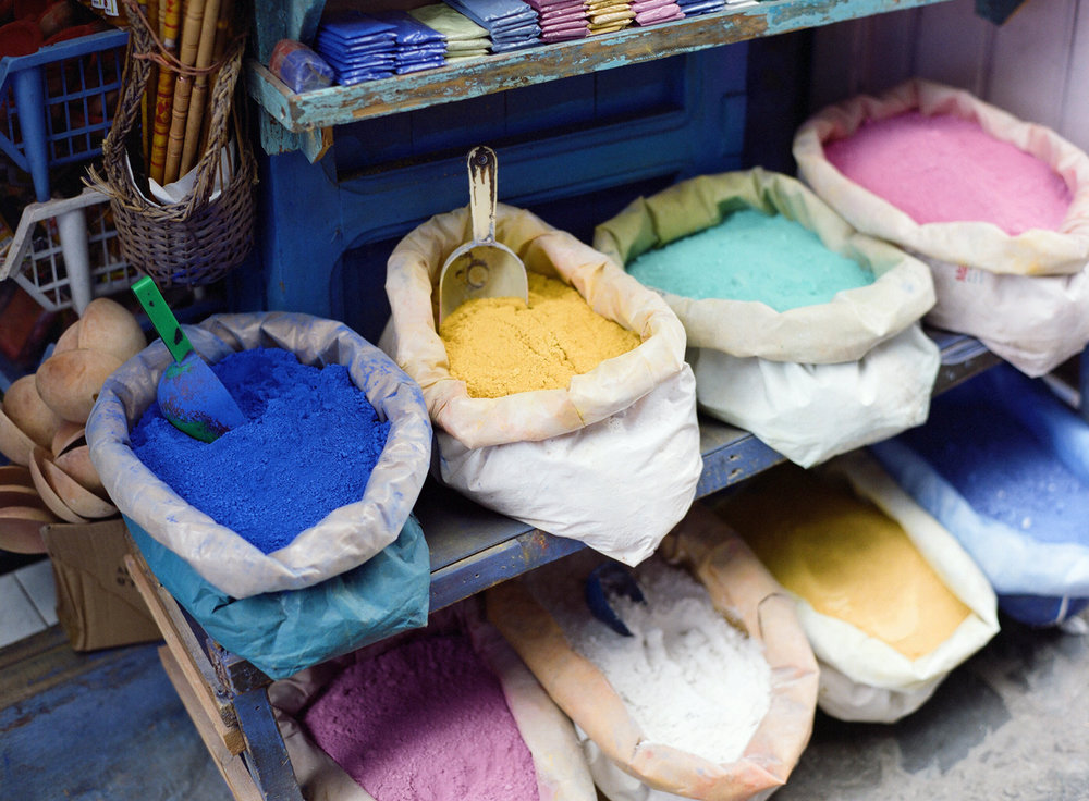 Powdered Chalk on Display in Bags on Bench_Chefchaouen_web.jpg