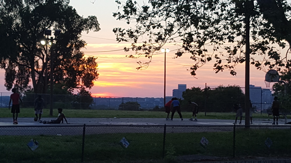 Teens enjoy basketball and an amazing Fulton summer sunset (Photo: M. Zimmerman)
