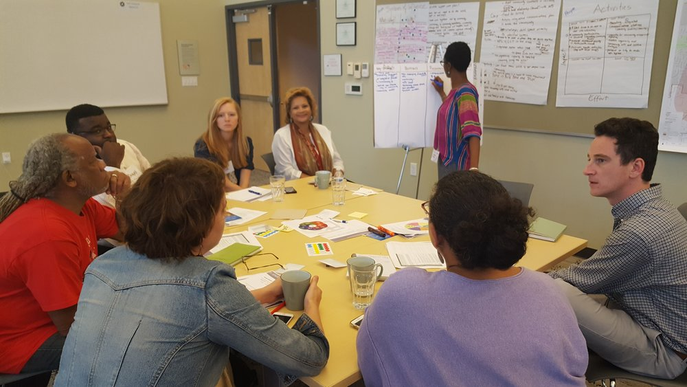 SPARCC partners collaboratively discussing strategies to elevate racial equity in our place-based work with community to achieve health, climate, economic and racial justice benefits (Source: M. Zimmerman).