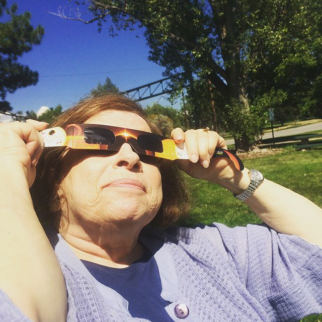 Got to see 92%of the eclipse here in Denver on my visit and with my eclipse buddy Auntie Arlee.  Felt this crazy still chill during it! So powerful. #eclipse #beautiful #solareclipse2017 #biggerthanme #mindfulness